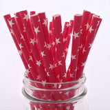Red Stars Solid White Paper Straws - 25-pack