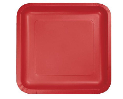 Touch of Color Square Paper Plates - Red (8)