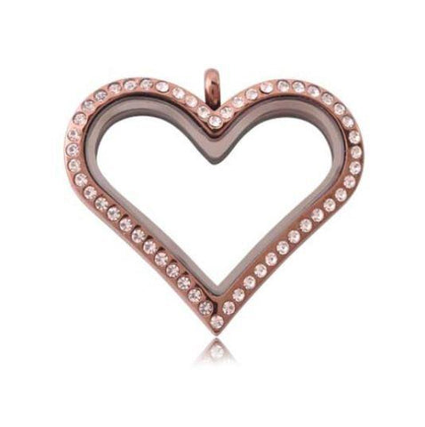 Rose Gold Heart Crystal Rim Magnetic Locket 35mm