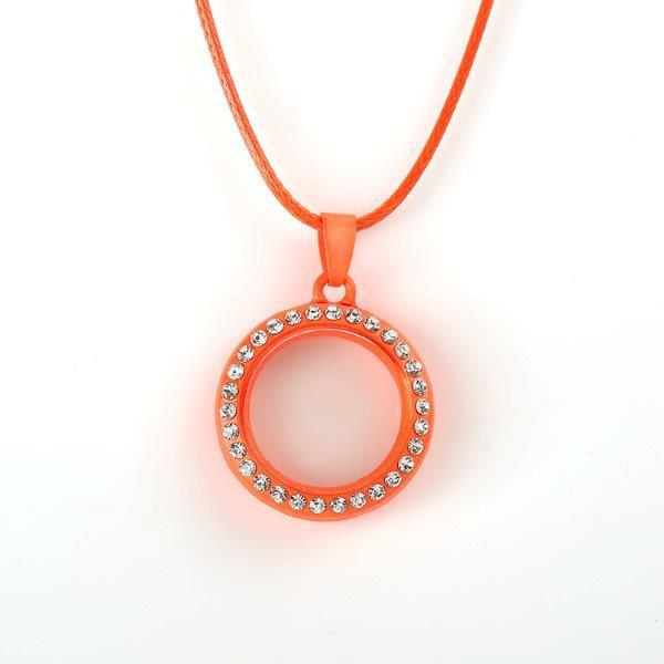 Round Orange Crystal Magnetic Rim 25mm