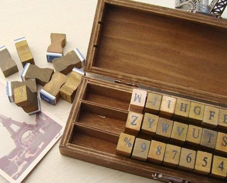 Rubber Stamps - Alphabet Squares in Wood Box, 42