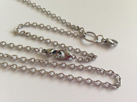 "Silver 30"" Two Locket Link Chain 3mm"