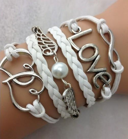 Silver Bracelet - Love, Hearts, White
