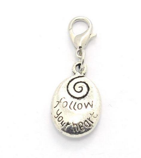 Silver Follow Your Heart Oval Tag