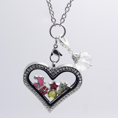 Silver Heart Crystal Rim Magnetic Locket 35mm