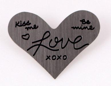 Silver Heart Love XOXO
