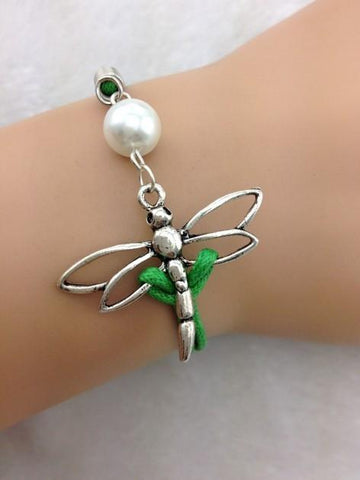 Silver Pearl, Dragonfly - Green