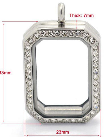 Silver Rectangular Crystal Rim Magnetic Locket 40mm
