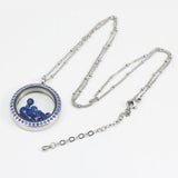 Silver Round Blue Crystal Rim Screw Top Locket 30mm