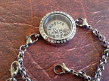 Silver Round Crystal Screw Top Locket Bracelet 25mm