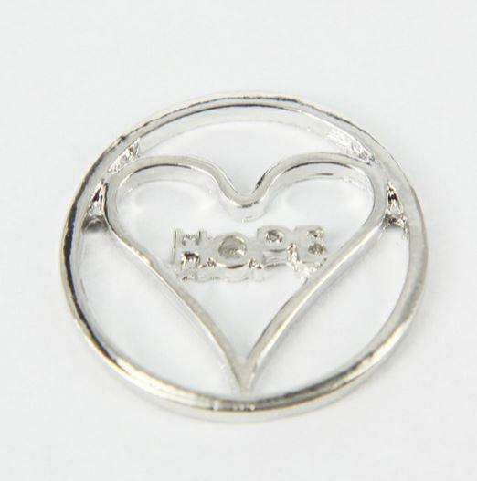 Silver Round Hope Heart