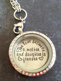 Silver Round Love Mother and Daughter
