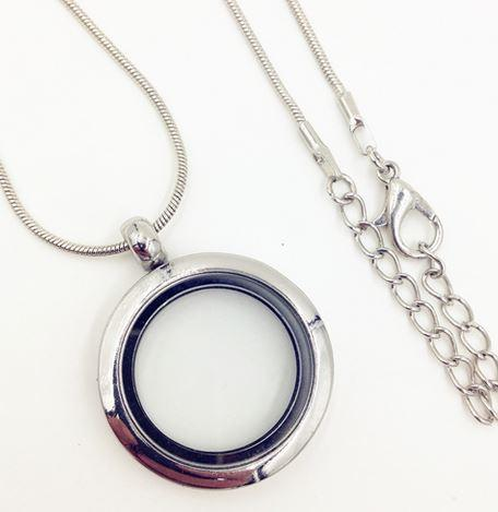 Silver Round Smooth Rim Magnetic Locket 25mm