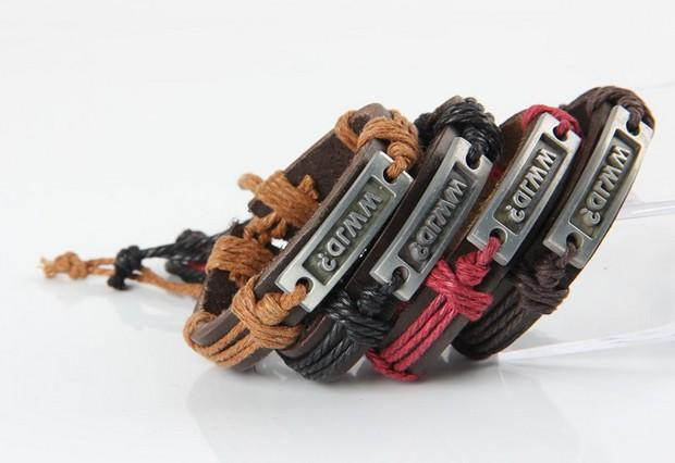 WWJD Black Leather Bracelet