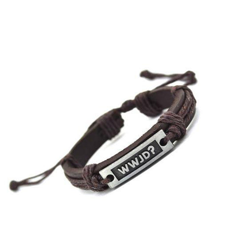 WWJD Brown Leather Bracelet