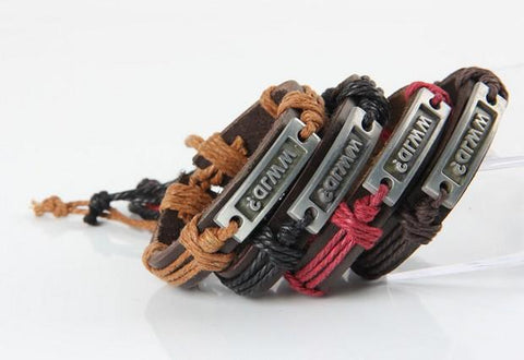 WWJD Tan Leather Bracelet