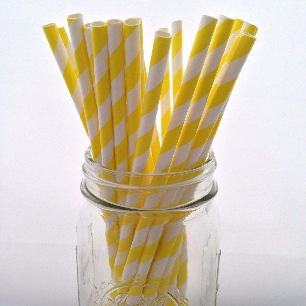Yellow and White Striped Paper Straws - 25-pack