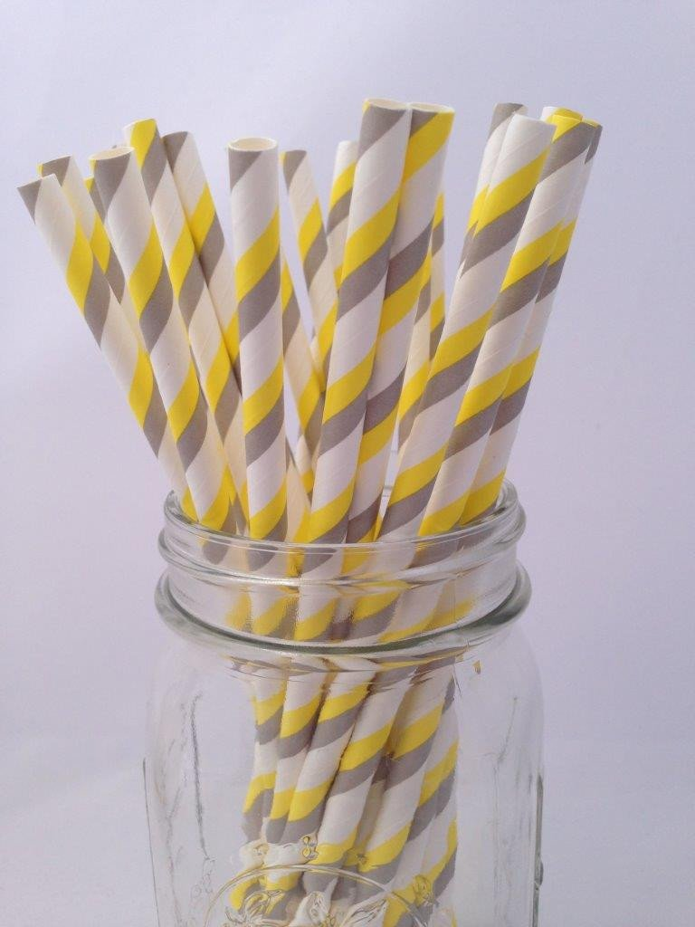 Yellow Grey Striped Paper Straws, 25-pack