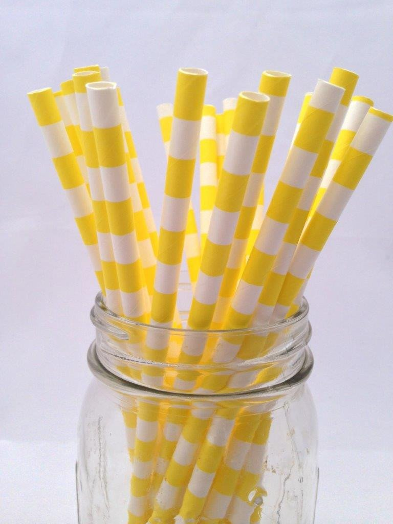Yellow Hortizontal Stripe Paper Straws 25pack