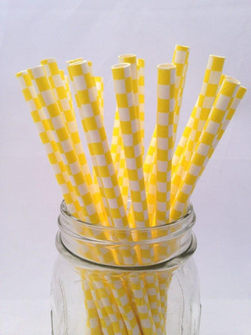 Yellow Square Paper Straws, 25-pack
