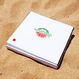 pizza towel in box on beach