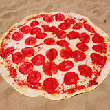 pepperoni pizza towel on the beach