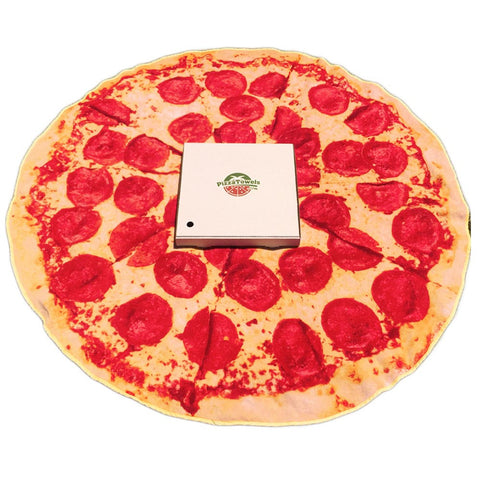 pepperoni pizza towel with pizza box