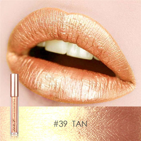 Focallure™ Metallic Waterproof Lip Gloss Liquid Lipstick (Tan)