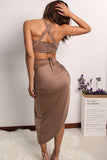 Two piece split sexy women dress