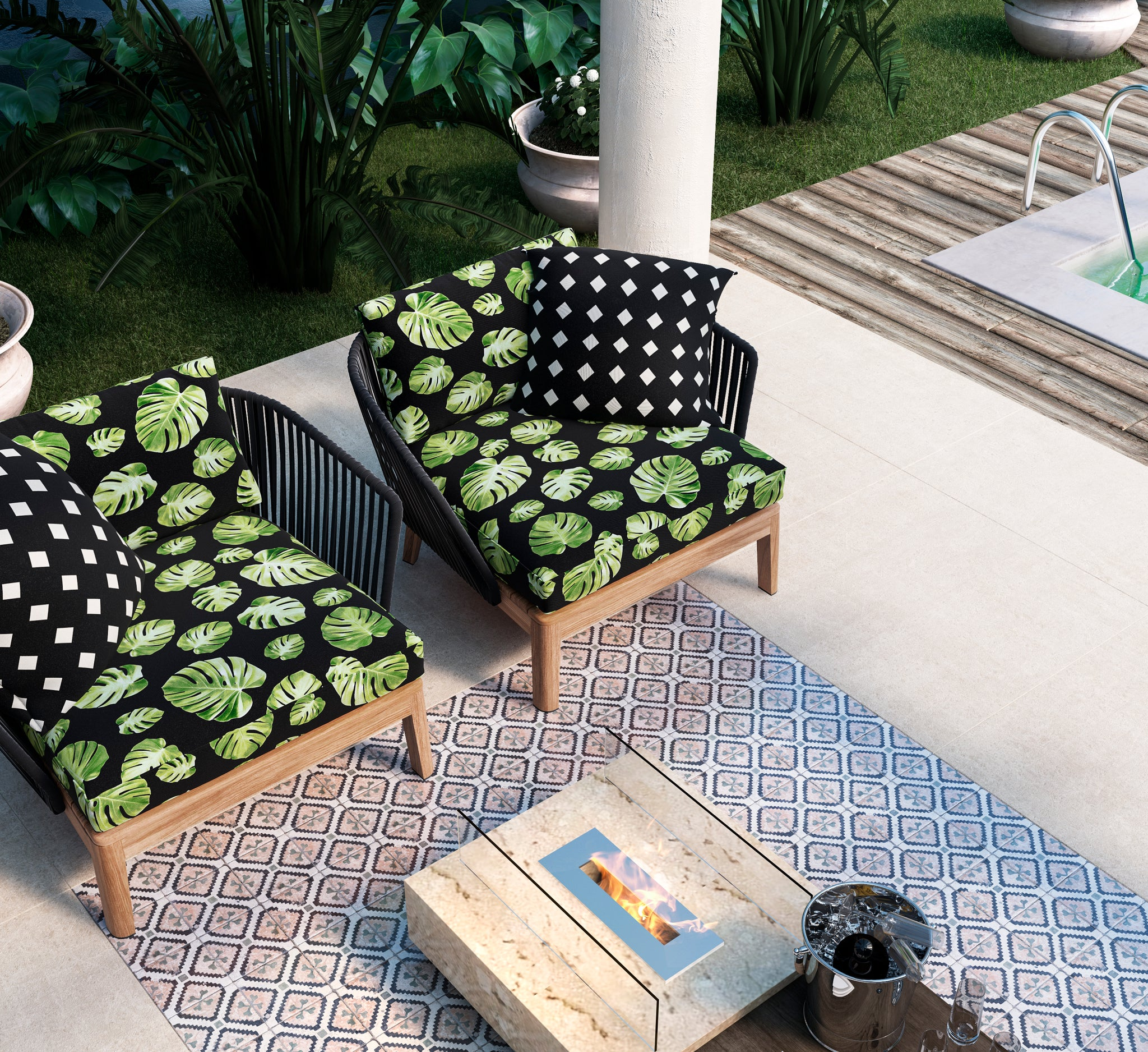 Groovy Braziwi Bean Bag Monstera Preto Gmtry Best Dining Table And Chair Ideas Images Gmtryco