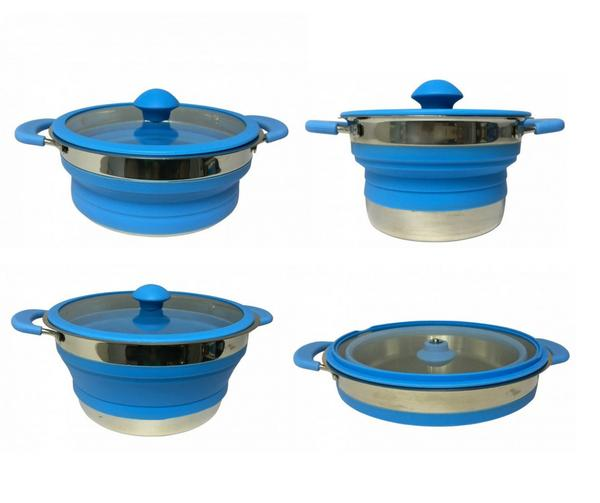 set of blue supex collapsible saucepans