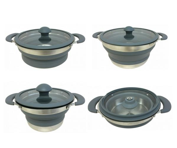 set of grey supex collapsible saucepans