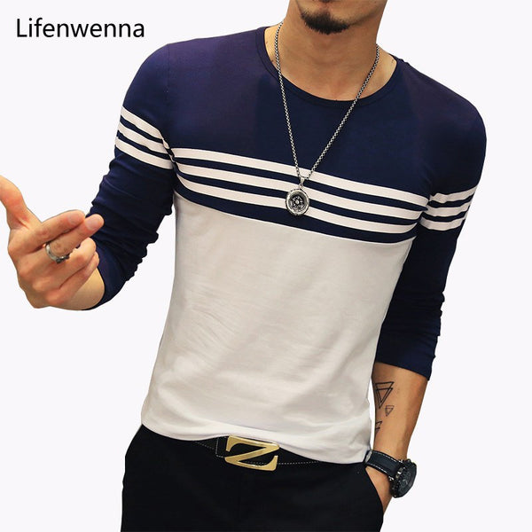 Cotton Blend Long Sleeve Striped T-Shirt