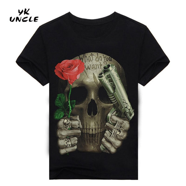 Skull Cotton Blend Short Sleeve Floral T-Shirt