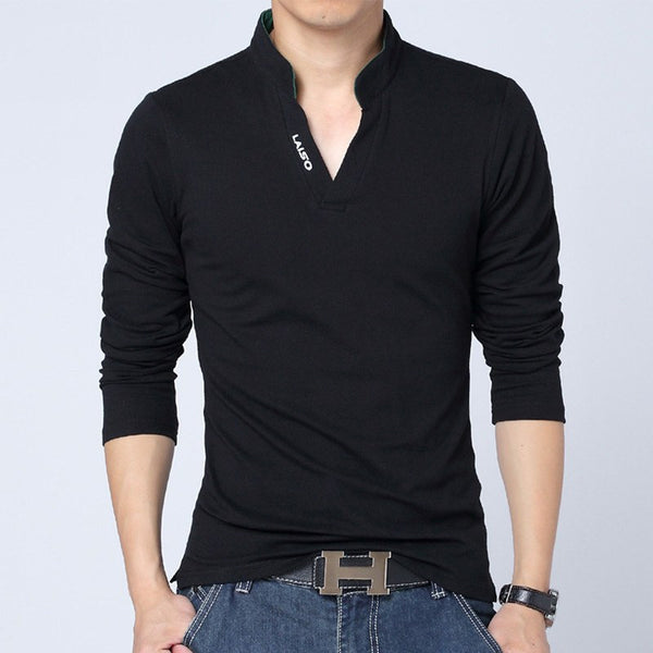 Cotton Blend Long Sleeve Slim Fit T-Shirt