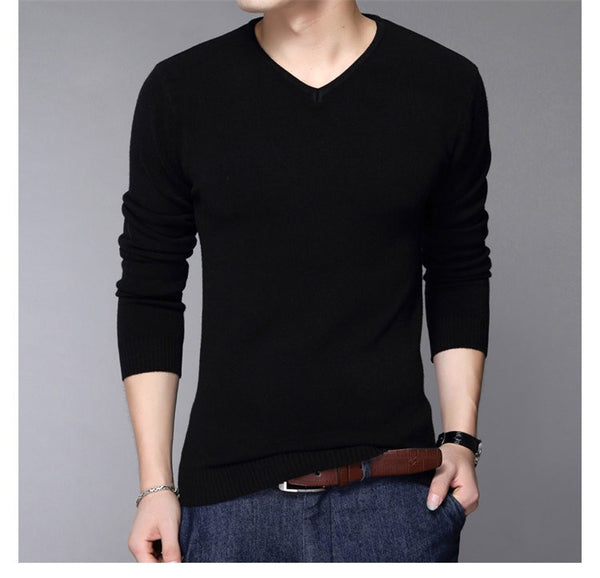 Cashmere Slim Fit V-Neck Sweater Shirt