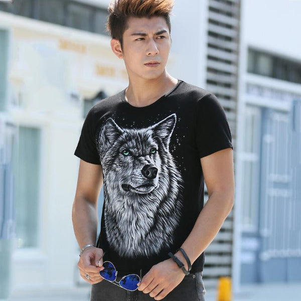 Cotton Blend Short Sleeve T-Shirt With Wolf Print