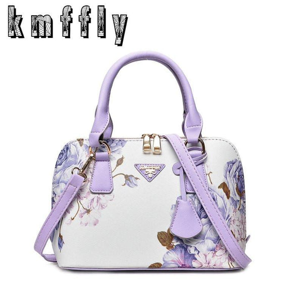 Floral Print Faux Leather Hand Bag