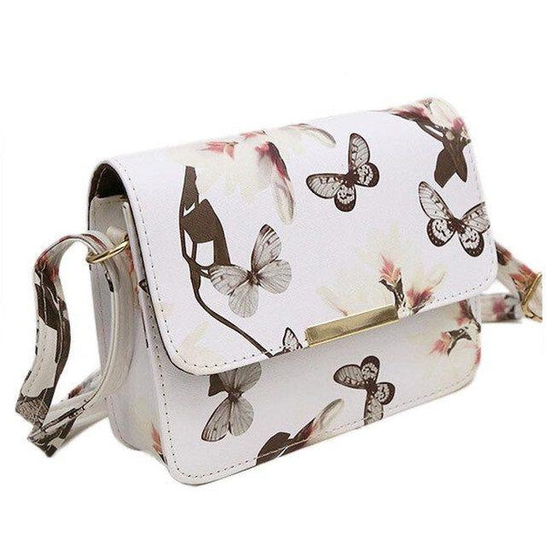Floral and Butterflies Print Faux Leather Handbag
