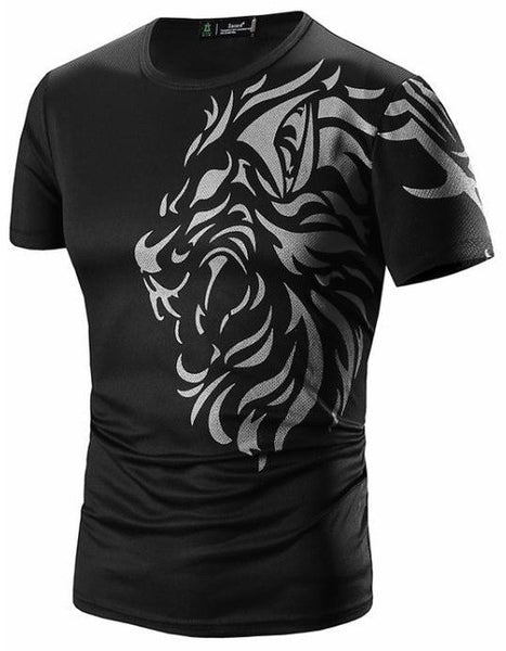 Short Sleeve Cotton Lion Print T-Shirts