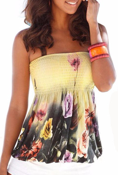 Strapless Floral Print Loose Top
