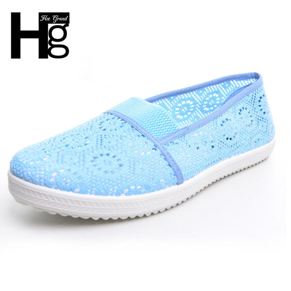 Floral Mesh Casual Flat Shoes