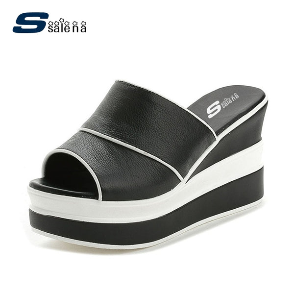 Genuine Leather Wedge Sandals for Women