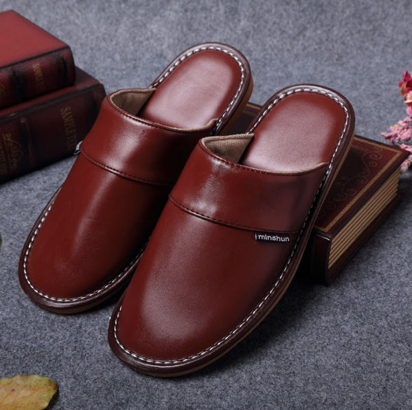 Chocolate Genuine Leather Women Men Slippers Summer Home Slippers High Quality Women Men Shoes Non-Slip Home Floor Shoes
