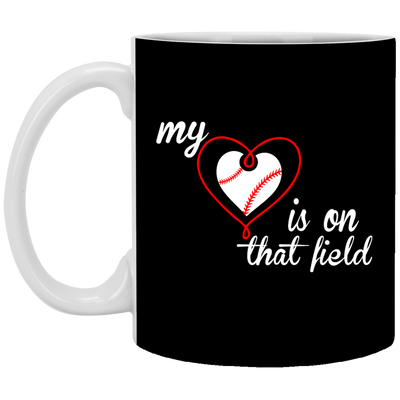 My Baseball Mom Heart On Field Mug