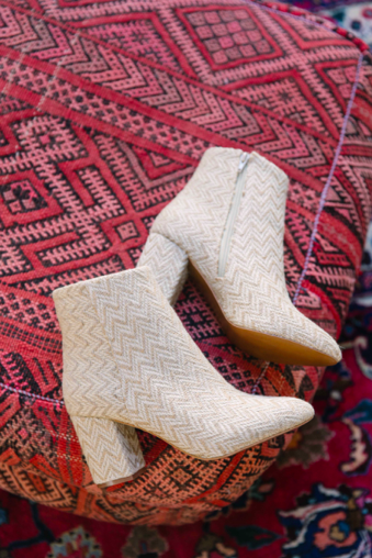 Andrea Sand Jute Woven Vegan Ankle Booties