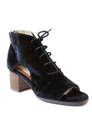 Amelia Faux Pony Cut Out Lace Up Booties Black Detail