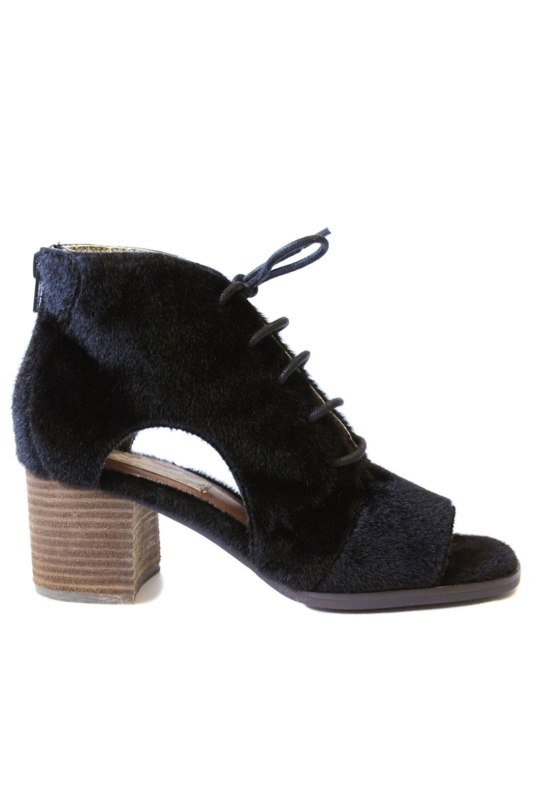 Amelia Faux Pony Cut Out Lace Up Booties Black