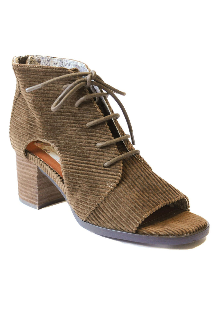 Amelia Corduroy Cut Out Lace Up Booties Master