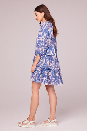 Adeline Amethyst Floral Tiered Mini Dress Side